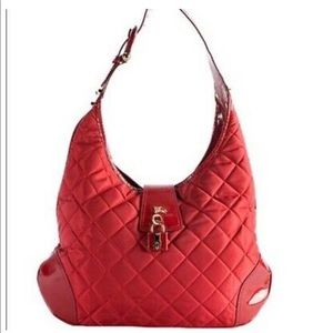 BURBERRY Brooke Quilted Red Patent Leather Bag